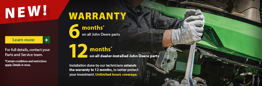 New 12 months warranty on Parts and Service