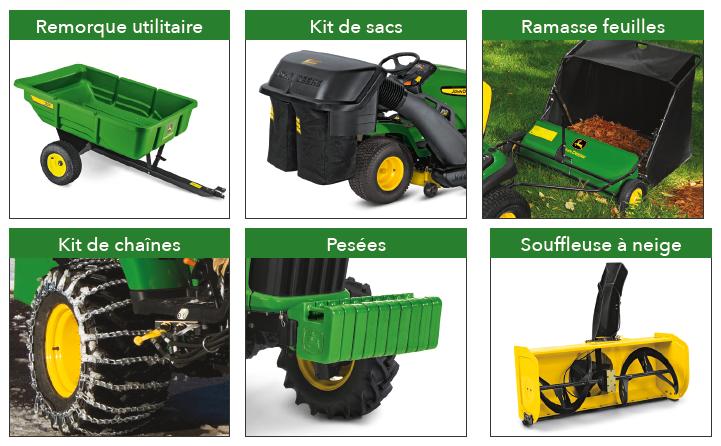 Accessoires pour tracteur à pelouse
